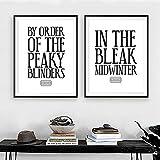 WAFENGNGAI cuadros Blinders Cita Impresión de lienzo Póster de tipografía Pintura moderna en blanco y negro Cuadro de pared Decoración de dormitorio-40X60Cmx2 Sin marco