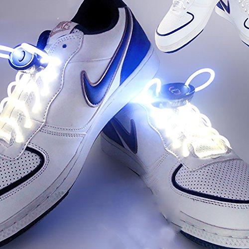JiuRui LED Lampe 1 Paire 80cm Glow Lacets LED Sport Chaussures Lacets Glow Bâton Clignotant Neon Luminous Lacets, Chaud Blanc Blanc Rouge Vert Jaune Rose Bleu RGB (Color : White)
