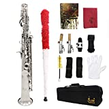 ammoon Soprano Saxophone SAX Bb Brass Lacquered Body and Keys