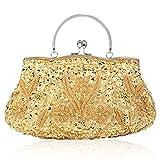 Bolso de embrague, bolso de noche con perlas de lentejuelas y cuentas florales, bolso de hombro para mujer, color Dorado, talla Talla única