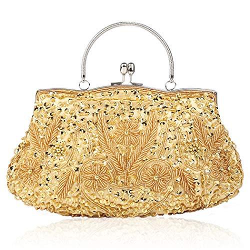 Clutch mit Perlen, Pailletten und Perlen, 1920er-Jahre, Clutch, Pailletten, Hochzeit, Party, Abschlussball, Handtasche, Handtasche, Abendtasche, Clutch für Abend, Gold - gold - Größe: Einheitsgröße