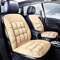ユニバーサルぬいぐるみカーシートカバー暖かいフェイクファー自動フロントシートクッションパッド車のインテリアプロテクターフィット用99%車の車両 (Beige,2Pc)
