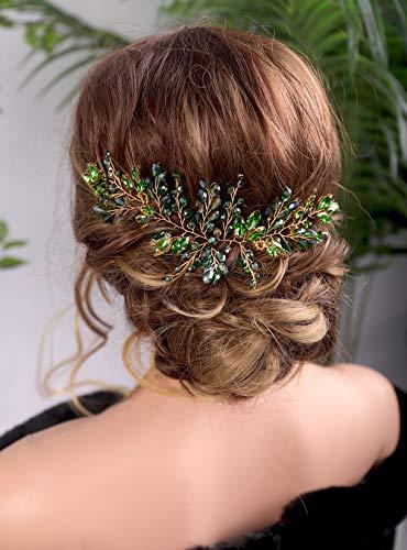 Kercisbeauty Bride Hair Accessories Green Crystal Hair Vine Gold Headband Evening Party Prom Women Hair Piece Vintage Wedding