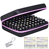 Essential Oil Carrying Organizer Storage Case for 70 Roller Bottles 5/10/15/20ml Small bottles with Free Writable Labels Opener Holds Purple-13.2'Lx9.4'Wx3.7'H