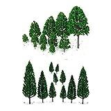 NUOLUX 22pcs grün Mini Baum Set Szenerie architektonische Landschaft Modell Bäume -