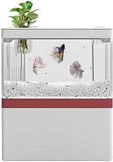 WZHZJ Bureau Creative Creative Mini Aquarium Tank avec Support de téléphone avec Lampe LED Light Betta Poisson Cylindre de...