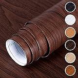 DMAXUN Espesar Impermeable Grano de madera Papel pintado 40x300cm Papel de vinilo autoadhesivo para Sala Habitación Paredes Encimera Bricolaje Mueble Rojo marrón