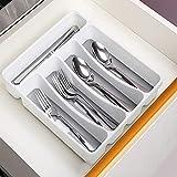 QIUXIA Clear Mini Silverware Tray, Praktischer Schubladen Organizer für die Küche - Rutschfester...