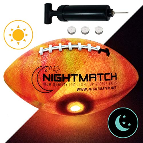 NIGHTMATCH Light Up Football - Marble Edition - INCL BALL PUMP and SPARE BATTERIES - Inside LED lights up when kicked - Glow in the Dark Football - Size 6 - Official Size & Weight - Night-Light Sports