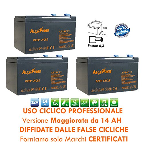 3 X BATTERIA RICARICABILE USO CICLICO PIOMBO 36V 12V...