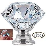 MINGZE 12 piezas Manija de puerta de cristal, Tiradores de Muebles Pomos, aparador Perilla de gabinete de vidrio, Perillas de gabinete para la oficina en el hogar (Transparente 30mm | 12 piezas)