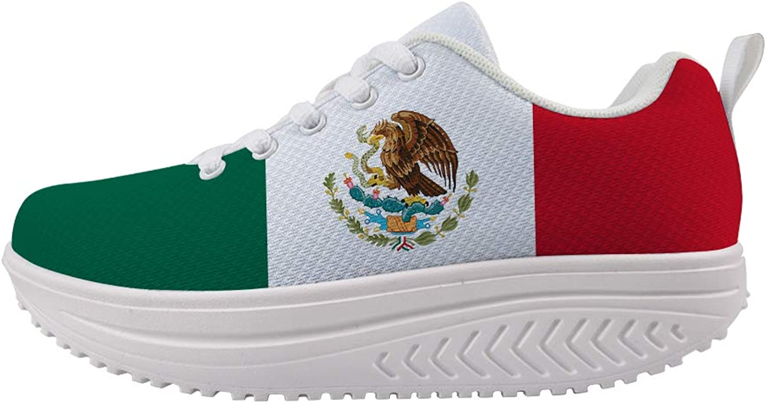 Owaheson Swing Platform Toning Fitness Casual Walking shoes Wedge Sneaker Women Mexico Flag