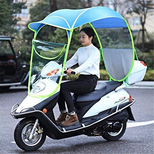 XJZKA Cubierta de Lluvia Universal para Motocicleta, Motor, Scooter, Cubierta de Lluvia para sombrilla para Bicicleta de Ciclismo, Toldo Impermeable para sombrilla, Azul, para sin Espejo