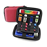 GHKJOK Hard Shell Carrying Case Bag for Power Bank External Hard Drive USB Disk Data Cables Gaming Console Mini Projector Action Camera Travel Organizer Shockproof Multifunction Red