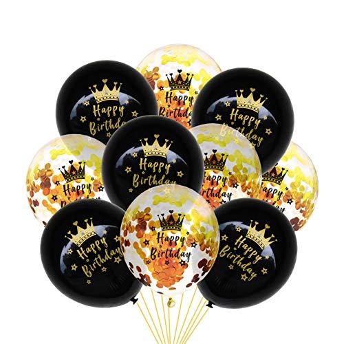 Globos impresos con texto en alemán 'Alles Gute zum Geburtstag' (10 unidades), color oro rosado con lentejuelas, juego de globos de látex con texto en alemán 'Alles Gute zum Geburtstag'