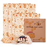 FORMIZON Emballages en Cire d'abeille, Lot de 4 Enveloppes Alimentaires Réutilisables Écologique, Abeille de Wrap Produit Naturel et sans Plastique pour Fromage, Fruits, légumes et Pain(2 Size)