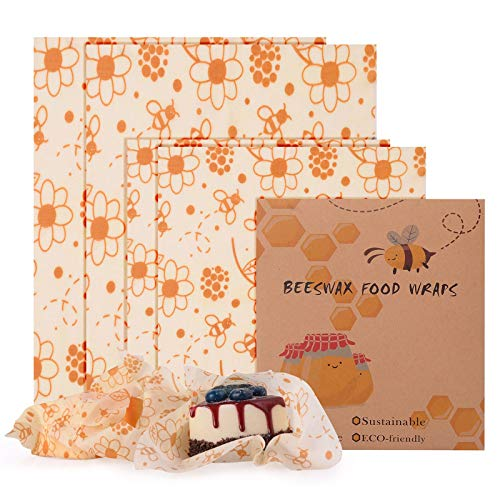 FORMIZON Bees Wrap Wachspapier 4er-Pack, Wachspapier für Lebensmittel, Wachspapier Nachhaltige, Kunststofffreie Lagerung, Frischhaltefolie für Lebensmittel Käse, Obst, Gemüse und Brot