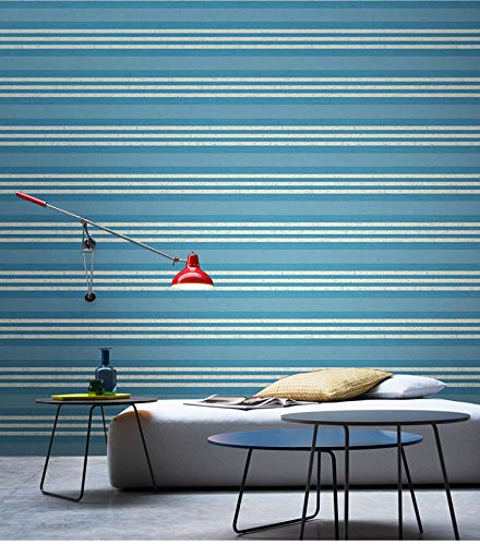 Papel Pintado Rayado Mediterráneo PVC Wallpaper Rollo para Paredes Habitación de Cama Papel de Pared Vintage Revestimientos de Pared Decoración del Hogar 5.3m²