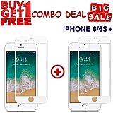 Kite Digital iPhone 6+/6S+ 5D White Premium Tempered Glass Screen Protector Slim 9H