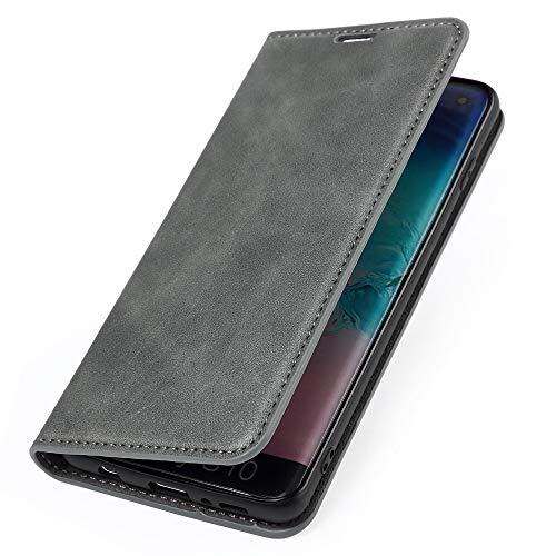 Wormcase ® Handytasche kompatibel mit Samsung Galaxy S10 – ECHTLEDERHÜLLE – KARTENFACH –MAGNETVERSCHLUSS – Grau - Hülle Echt-Leder-Tasche-Hülle-Hülle Etui Flip Schutz-huelle Echtes-Leder