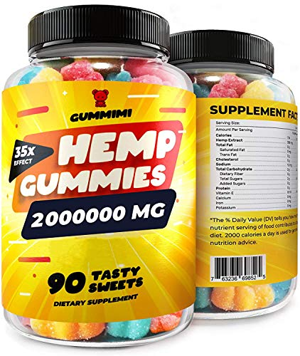 Gummies for Pain, Anxiety, Sleep, Stress Relief, High Potency - Premium Calm Gummy Bears with Oil - 100% Natural - Improves Memory, Focus, Attention - Omega 3, 6, 9 & Vitаmins B, E