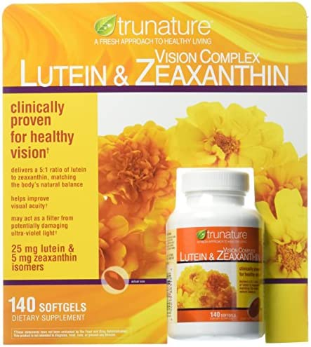 Trunature Vision Softgels Complex Lutein and Zeaxanthin Supplement, 140 Count