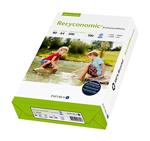 Papyrus 88054052 Recycling-Papier, Druckerpapier Recyconomic EvolutionWhite 80 g/m ² DIN-A4, 500 Blatt, ungestrichen, matt, hochweiß