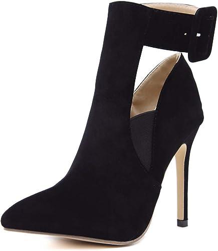 HBDLH Chaussures pour Femmes Le Daim Boucles Nues 11Cm Bottes Talon Haut Maigre Talon Pointu Sexy Bref des Bottes.