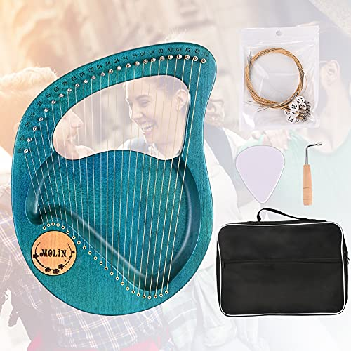 Kacsoo Arpa de Lira, 24 Cuerdas Arpa Pequeña Arpa de Caoba Portátil con una Cuerda de Repuesto y una Bolsa Transporte El Mejor Regalo Para Principiantes y Amantes de la Música(GREEN)