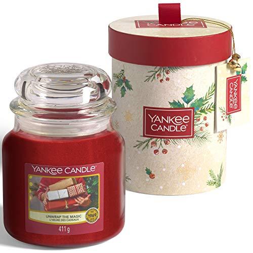 Yankee Candle Juego de regalo | Desenvuelve la vela mágica de Navidad perfumada en tarro mediano | Colección mágica de Navidad por la mañana