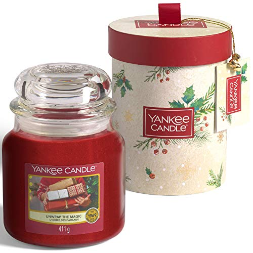 Yankee Candle confezione regalo | Candele profumate natalizie | Giara media Unwrap the Magic | Collezione Magical Christmas Morning