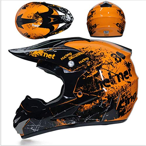 JWL Motocross Helm Orange Floral, Herren Cross Helm Mit Brille Maskenhandschuhe (4 Stück), Adult Motorrad Sport Damen Herren Downhill Helm ATV MTB Quad Bike Motocross Helm (L)