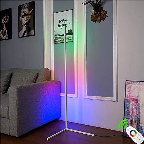 HCSM Eck-Stehleuchte, LED Dimmbare Stehlampe mit RGB Farbwechsler und Fernbedienung, Moderner minimalistischer Stil, Ambient Ecklichter für Wohnzimmer, Schlafzimmer, Spielzimmer 140CM X 40CM (Weiß)