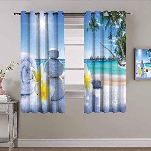 Nileco Cortinas Opacas Termicas - Cielo playa plantas piedras - 280x160 cm - Cortinas del Dormitorio de la Habitación de los Niños - 3D Impresión Digital con Ojales Aislamiento Térmico