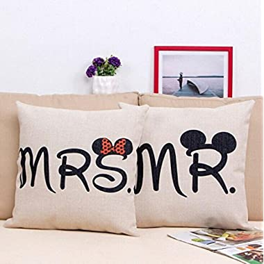 Esunshine Cotton Blend Linen Square Throw Pillow Cover Decorative Cushion Case Pillow Case 18 X 18 Inches / 45 X 45 cm, Disney (Mickey & Minnie)