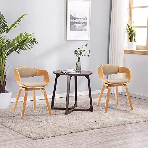 Mingone 2er-Set Esszimmerstühle mit Armlehnen Bentwood Designer Stühle mit Leinen Sessel Küchenstühle Gepolsterte Stühle für das Wohnzimmer(Beige)