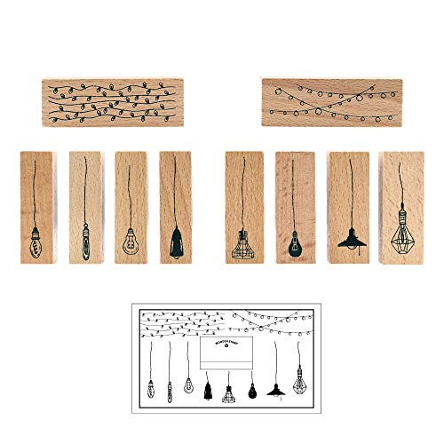 Wooden Rubber Stamp Set, NogaMoga 10pcs Vintage Rubber Seal with Old Fashioned Light Bulbs & String Lights, Wood Mounted Decorative Stamps for DIY, Scrapbooking Craft, Gift Wrapping and Cards
