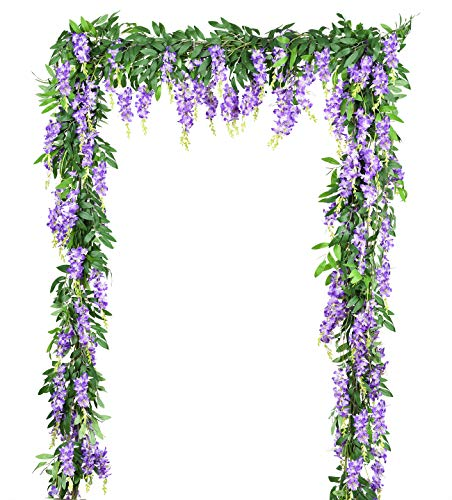 DearHouse 2Pcs 6Ft/Piece Artificial Flowers Silk Wisteria Garland Artificial Wisteria Vine Hanging Flower Greenery Garland for Home Garden Outdoor Wedding Arch Floral Decor (Purple)