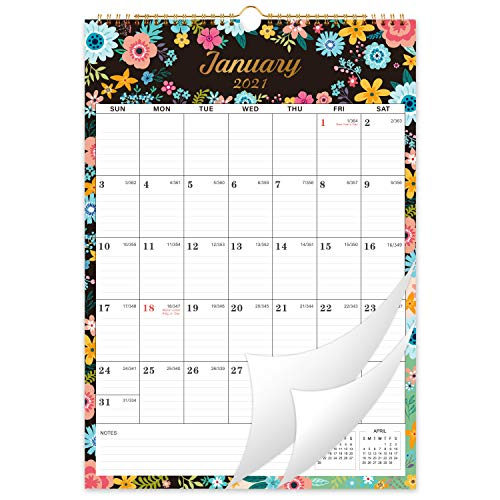 2021-2022 Calendar - 18 Monthly Wall Calendar with Thick Paper, Jan 2021 - Jun 2022, 12' x 17', Large Blocks with Julian Dates, Twin-Wire Binding, Hanging Hook, Perfect for Planning for Home or Office