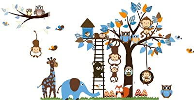 Rainbow Fox Kids Wall Decal, Jungle Zoo Theme Colorful Owl Monkey Tree Decorative Nursery Wall Sticker for Children Bedroom Nursery Playroom Wall Mural
