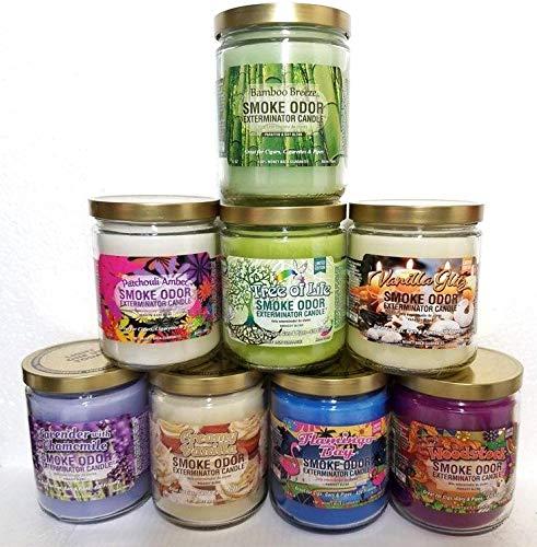 Smoke Odor Exterminator 13 oz Jar Candles Bamboo Breeze Assortment, (8) Includes Bamboo Breeze, Vanilla Glitz, Flamingo Bay, Creamy Vanilla, Woodstock, Patchouli Amber, Lavender & Tree of Life.