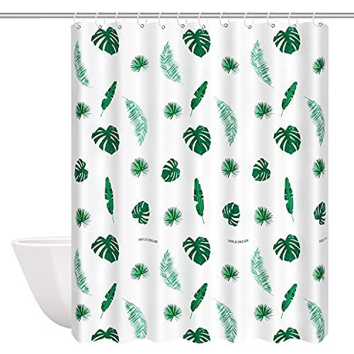 Jacuhaju Duschvorhang,Tropisch Grün Blätter Wasserdicht Anti Schimmel Extra Lang Weiß Polyester Badezimmer Gardinen mit 12 Haken,180x200cm für Badewanne,Bathroom
