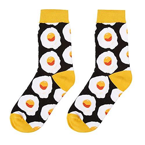 Doitsa 1 Paar Socke Mädchen Wind Baumwolle Tube socken Nachmittagstee-Nachtisch-Lebensmittelillustrations-Serie Süße Schönheits socken Pochiertes Ei