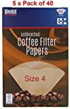 Pack of 200 Brown Coffee Filter Papers Size Four (4 or 1x4) suitable for coffee filter machines and cones-