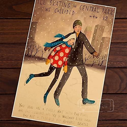 Póster de Mapa Pop de Patinaje sobre Hielo en Central Park, Vintage, clásico, Retro, Kraft, mapas Decorativos, Lienzo, Pegatina de Pared para Carteles de Bar en casa, Deco