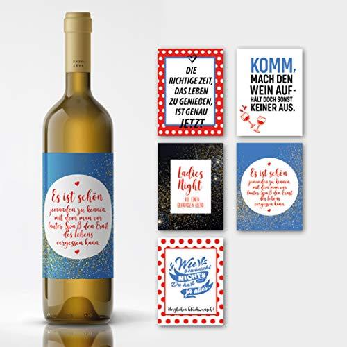 Netti Li Jae ® selbstklebende Premium Wein-Etiketten: Aufkleber Set verwandelt normale Flaschen Wein in einzigartige Weingeschenke (Hochformat)