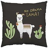 Close Up Lama Kissen No Drama Lama - schwarz, Bedruckt, aus 100% Baumwolle.