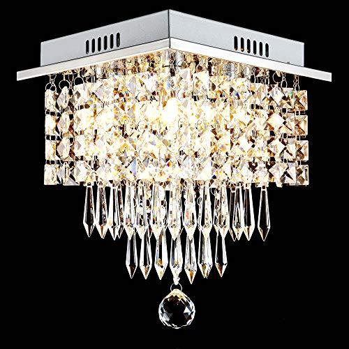 Glighone LED Kristall Deckenlampe Deckenleuchte Kronleuchter Anhänger Kristallkronleuchter G9x4 (erhalten) für Wohnzimmer Schlafzimmer Flur Küche Restaurant usw.