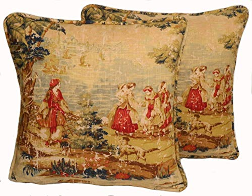 """A set of 2 18"""" French Country Toile Bosporus Brick Tan and Red Decorative Throw Pillow Covers"""
