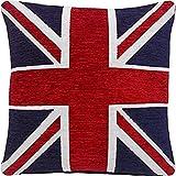 Pesado Grueso Chenilla Blanco Rojo Azul Union Jack 18' Cushion Cover